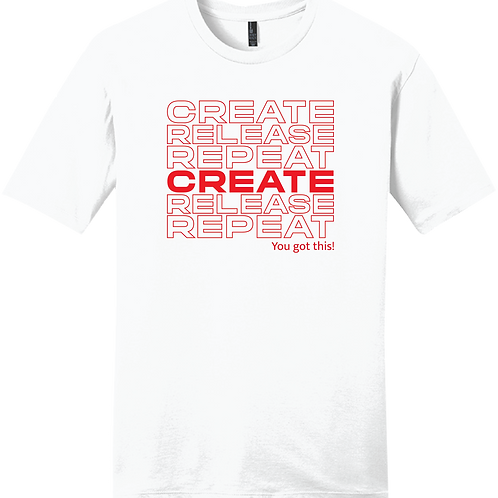 Create, Release, Repeat Stack T-Shirt - White