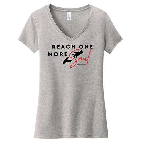 Reach One More Soul Ladies V-Neck - Heather Grey