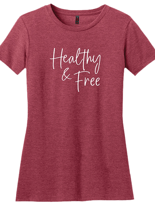 Healthy & Free Ladies T-Shirt - Heather Red
