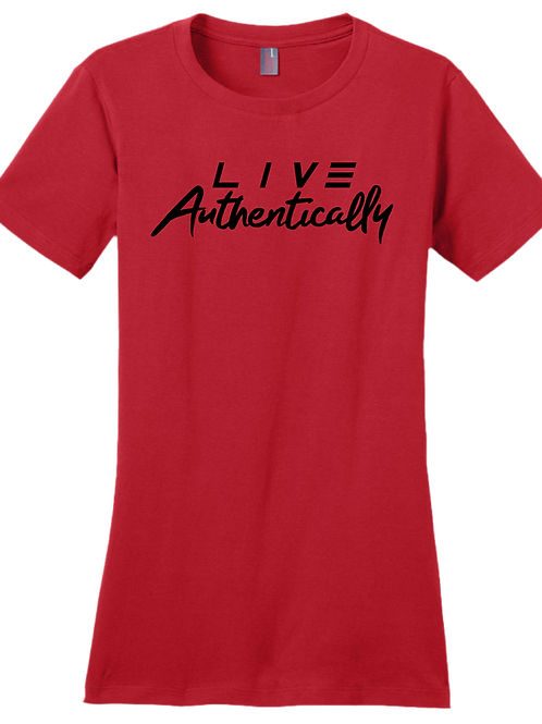 Live Authentically Ladies T-Shirt - Red