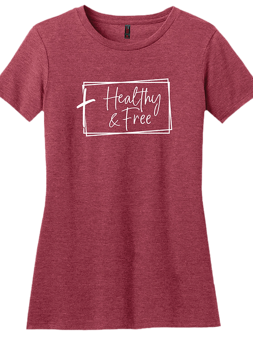 Healthy & Free w/ Cross Ladies T-Shirt - Heather Red