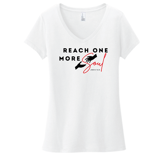 Reach One More Soul T-Shirt Ladies V-Neck - White