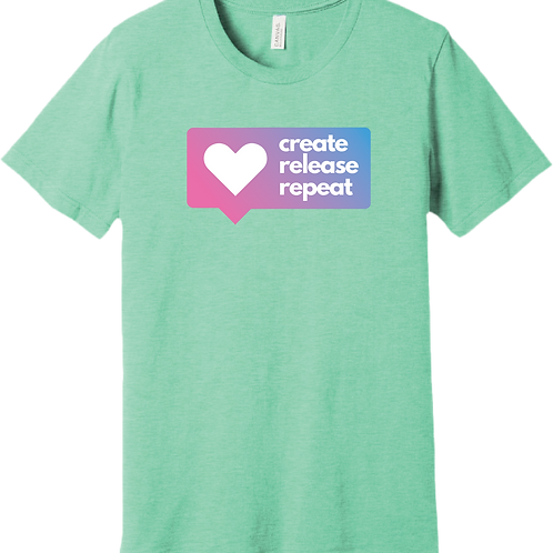 Create, Release, Repeat Post T-Shirt - Heather Mint