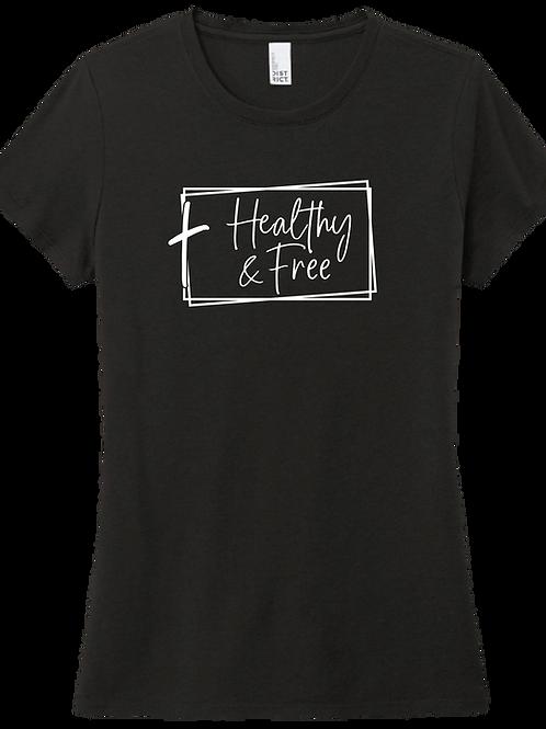 Healthy & Free w/ Cross Ladies T-Shirt - Black