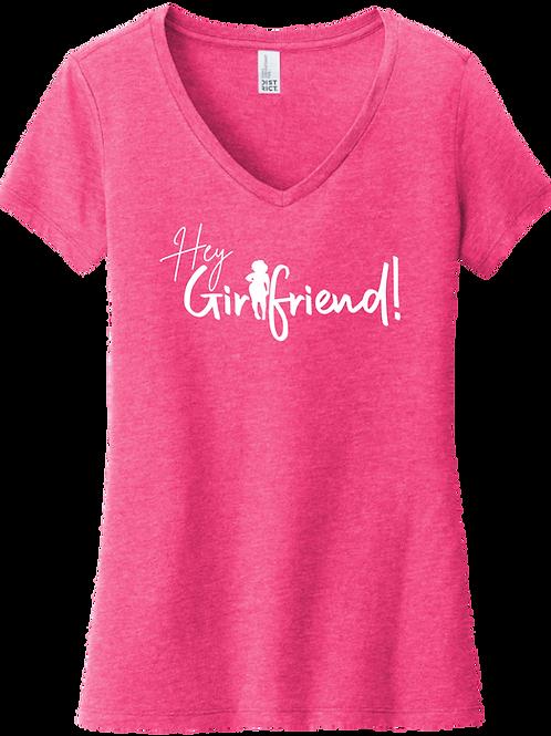 Hey Girlfriend! - Ethnic Sista V-Neck T-Shirt | Fuchsia