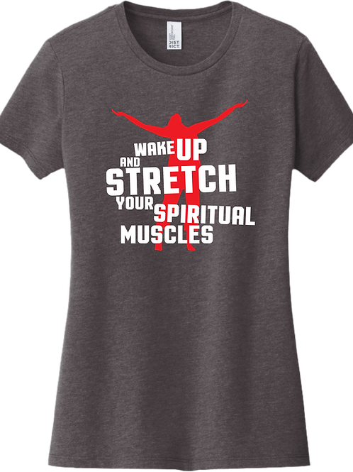Wake Up and Stretch Female T-Shirt - Heather Charcoal