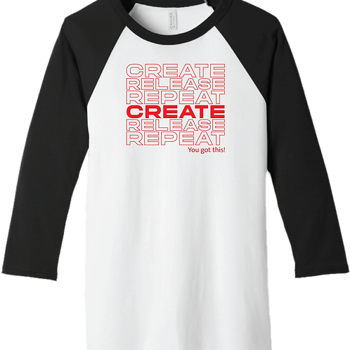 Create, Release, Repeat Stack T-Shirt - White/ Black