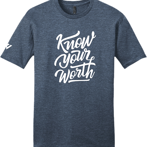 Know Your Worth T-Shirt - Heather Navy