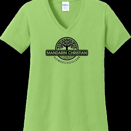 Mandarin Christian Home Schoolers  Ladies V-Neck T-Shirt - Lime
