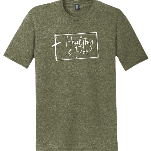 Healthy & Free w/ Cross T-Shirt - Military Green Frost
