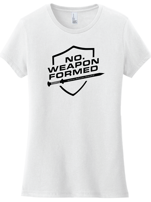 No Weapon Formed Female T-Shirt - White