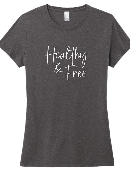 Healthy & Free Ladies T-Shirt - Heather Charcoal
