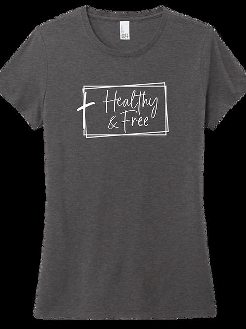 Healthy & Free w/ Cross Ladies T-Shirt - Heather Charcoal