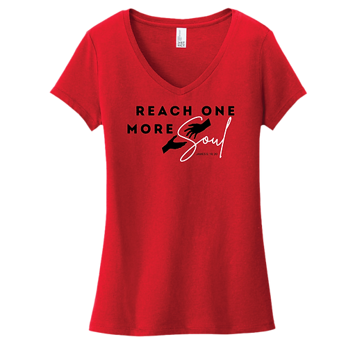 Reach One More Soul T-Shirt Ladies V-Neck -Red