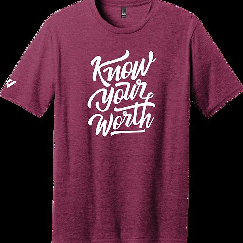 Know Your Worth T-Shirt - Raspberry Fleck