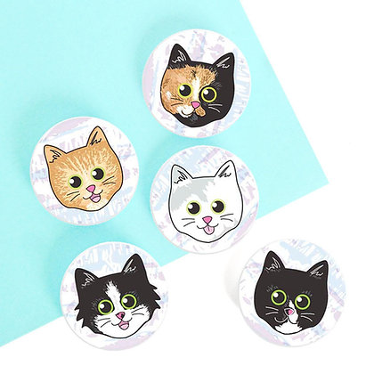 38MM CAT BUTTON BADGE