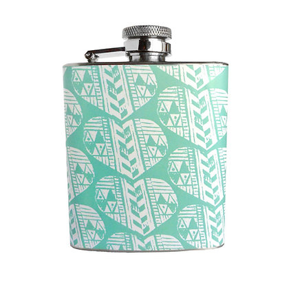 TURQUOISE AZTEC HEART 3OZ HIP FLASK