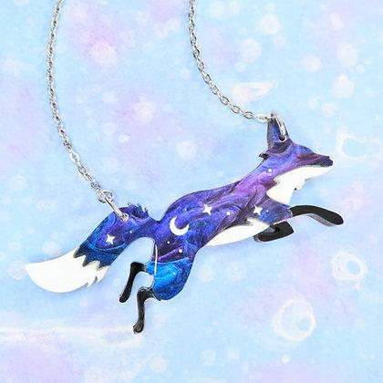 Cosmic Fox - Galaxy or Nebula Acrylic, Necklace or Brooch LL