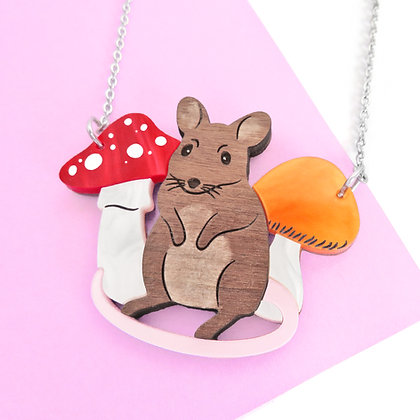 Mouse & Mushrooms Necklace or Brooch LL