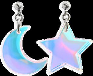 Charm Earrings 1 - Iridescent Star Moon