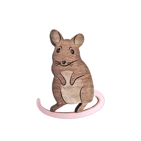 Acrylic Wooden Mouse Badge 1 - Lynsey Lu