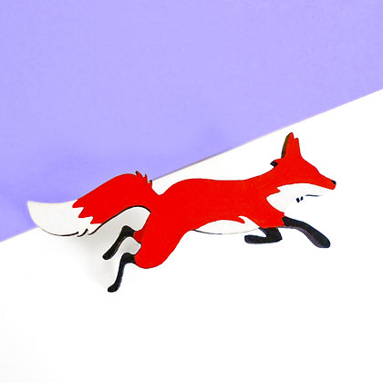 WOODEN FOX BADGE - RED OR COSMIC