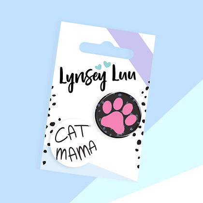 25MM CAT MAMA BUTTON BADGE SET OF 2