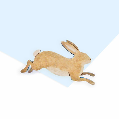 WOODEN BUNNY BADGE - NATURAL OR COSMIC