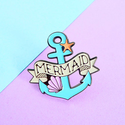 MERMAID PIN BADGE - BLUE