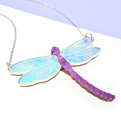 Iridescent Dragonfly Necklace or Brooch LL