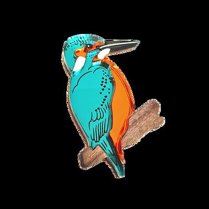 Acrylic Kingfisher Badge Side 1 - Lynsey