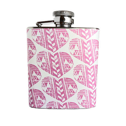 PINK AZTEC HEART 3OZ HIP FLASK