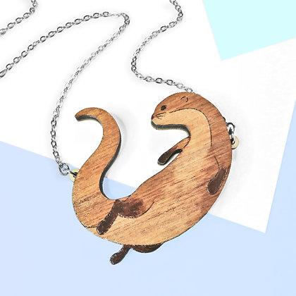 Otter Necklace or Brooch (Walnut) LL