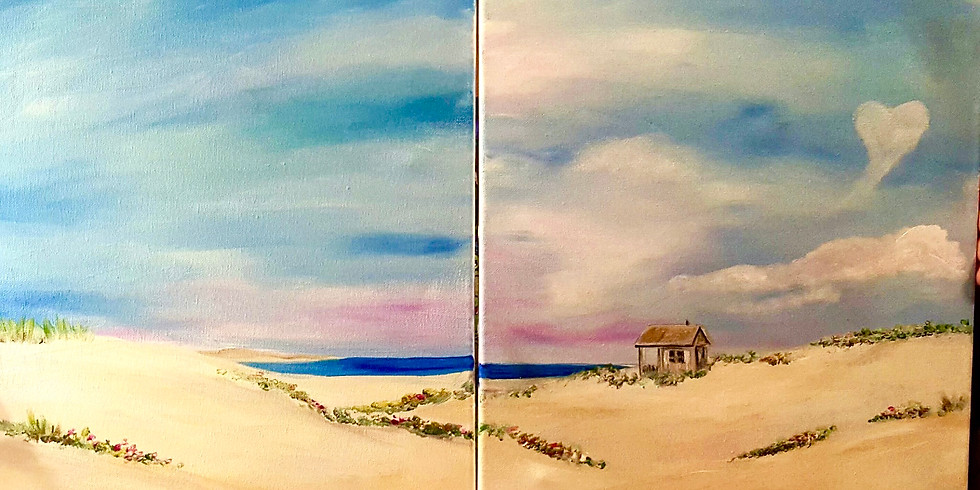 Paint Night with Josh The Artist! Cabin on the Dunes/double painting! Wed. 7/14-6:30-8:30PM (2)