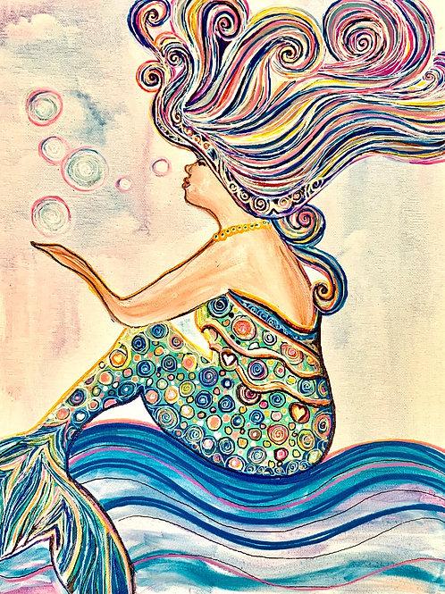 Make-a-Wish Mermaid Acrylic on Canvas