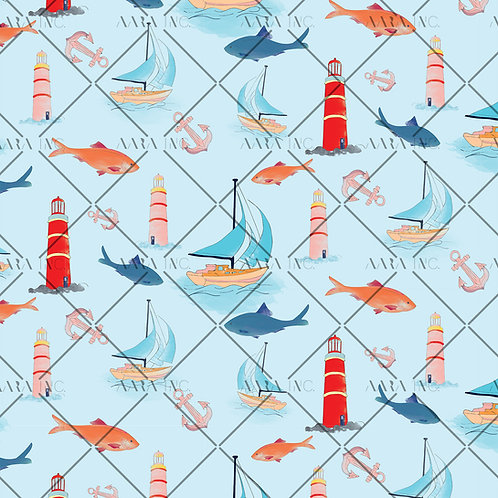Nautical Marine Ocean Fish Pattern