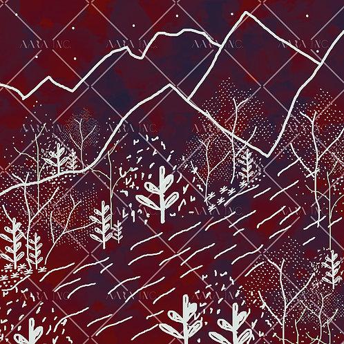 Hilly Landscape Scarf Print-APSP11