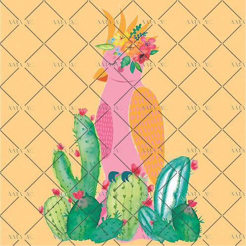 Relaxing Parakeet Bird with Cacti-KW1910028