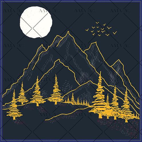 Mountain Landscape Scarf Print-APSP09