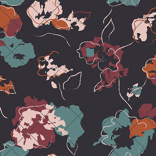 Abstract Stencilled Florals