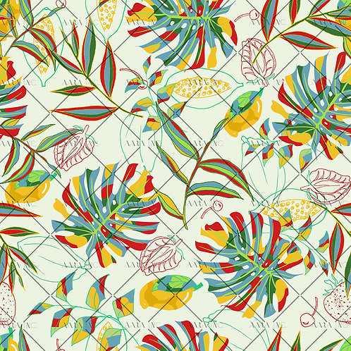 Mixed Media Tropical Leaves-KW1910025