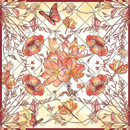 Big blooms with Butterflies Scarf Print-APSP12