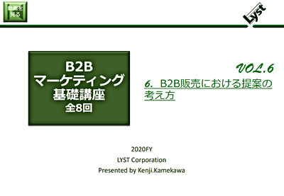 B2Bマーケティング基礎講座【6】B2B販売における提案の考え方