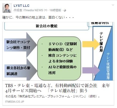 TBS・テレ東・電通など、有料動画配信で新会社
