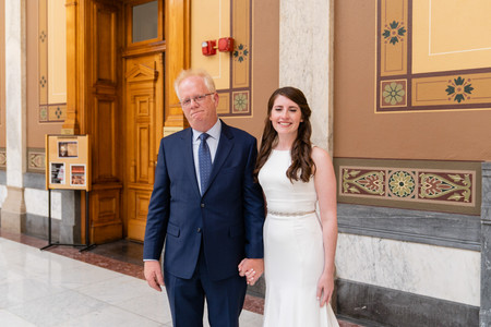 First Look with Dad - Indiana State House Weddings - Emma Males Wedding Photography