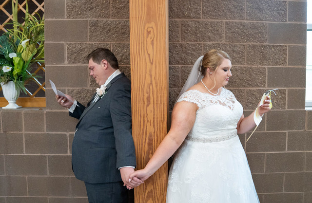 Published Indianapolis Wedding Photographer Emma Males - Bride and Groom Meeting Before Ceremony