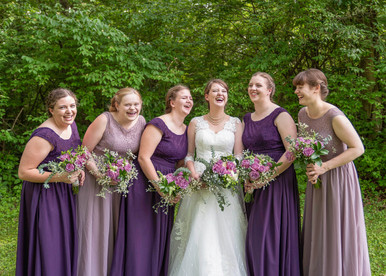 bridesmaids and brideceremony pictures at beautiful catholic church - Emma Males Photography