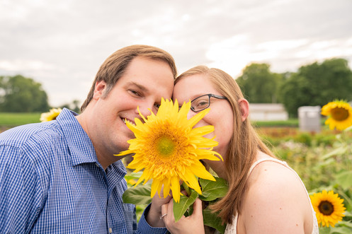 Indianapolis Wedding Photography - couple with sunflower