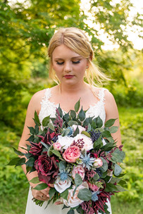 Close up of bride and her bouquet at Styled Shoot by Emma Males Photography at The Vineyard Gardens in Indianapolis Indiana