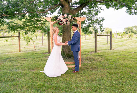 Couple in front of arch at Styled Shoot by Emma Males Photography at The Vineyard Gardens in Indianapolis Indiana